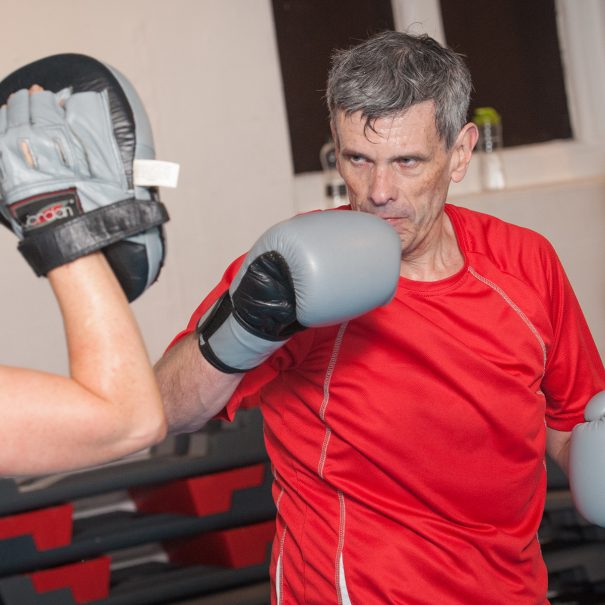 A boxercise class takes place at Withington Baths and Leisure Centre, Withington, Manchester on Tuesday 7th November 2017